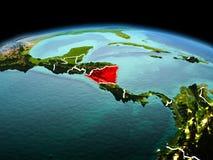 行星地球上的尼加拉瓜在空间 图库摄影