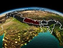行星地球上的尼泊尔在空间 免版税库存图片