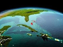 行星地球上的巴哈马在空间 库存图片