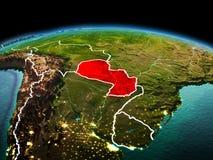 行星地球上的巴拉圭在空间 库存照片