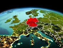 行星地球上的德国在空间 库存照片