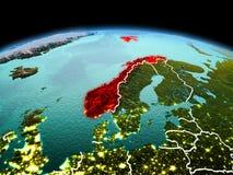 行星地球上的挪威在空间 免版税库存照片