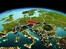 行星地球上的捷克共和国在空间 免版税库存照片