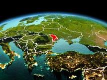 行星地球上的摩尔多瓦在空间 免版税库存照片