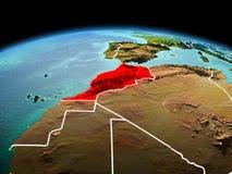 行星地球上的摩洛哥在空间 免版税库存照片