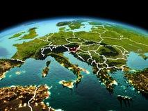 行星地球上的斯洛文尼亚在空间 免版税库存照片