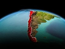 行星地球上的智利在空间 库存照片
