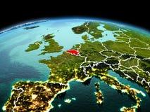 行星地球上的比利时在空间 免版税库存图片