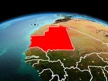 行星地球上的毛里塔尼亚在空间 库存照片