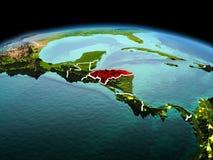行星地球上的洪都拉斯在空间 库存图片
