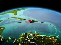 行星地球上的海地在空间 图库摄影