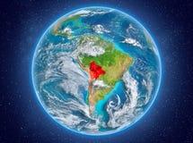 行星地球上的玻利维亚在空间 库存图片