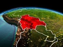 行星地球上的玻利维亚在空间 免版税库存图片