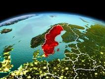 行星地球上的瑞典在空间 库存照片