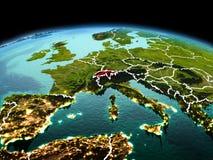 行星地球上的瑞士在空间 免版税库存图片