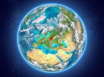 行星地球上的白俄罗斯在空间 库存图片