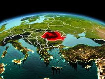 行星地球上的罗马尼亚在空间 免版税库存图片