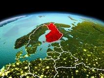 行星地球上的芬兰在空间 库存照片