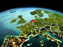 行星地球上的荷兰在空间 图库摄影