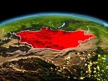 行星地球上的蒙古在空间 库存照片
