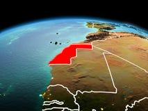 行星地球上的西撒哈拉在空间 免版税图库摄影