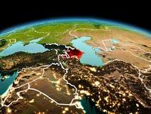 行星地球上的阿塞拜疆在空间 图库摄影