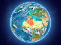 行星地球上的阿尔及利亚在空间 库存图片