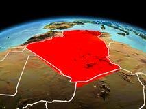 行星地球上的阿尔及利亚在空间 免版税库存图片
