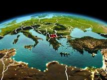 行星地球上的马其顿在空间 免版税库存图片