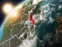 行星地球上的马拉维在日落 免版税库存图片