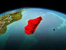 行星地球上的马达加斯加在空间 免版税库存照片