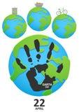 行星地球上的Handprint 免版税库存照片