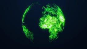 行星地球作为一张绿色焕发全息图 在黑暗的背景的真正数字式行星地球 免版税库存图片