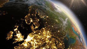 行星地球使用卫星图象美国航空航天局的欧洲区域 免版税库存图片