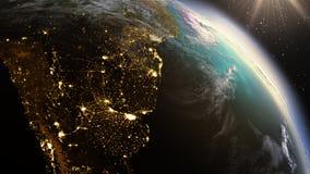 行星地球南美区域 使用卫星图象美国航空航天局的元素 免版税库存照片