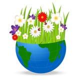 行星地球和明亮的美丽的花在白色背景 免版税图库摄影