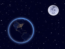 行星地球和月亮在夜空。北部和南美。 向量例证