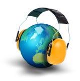行星地球噪音污染概念 免版税库存图片