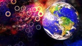 行星地球在宇宙空间宇宙空间背景中 向量例证
