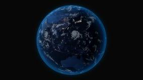 行星地球在晚上,从空间的全视图 库存例证