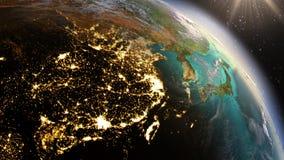 行星地球夜和日出 高度详细的卫星印象 免版税库存图片