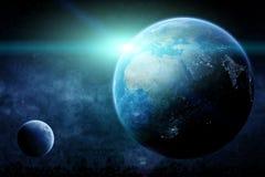 行星地球日出 免版税库存照片