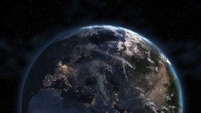 行星地球早晨3D 美国航空航天局装备的这个图象的元素 高度详细的行星地球 与发光的城市的夜点燃giv 库存图片
