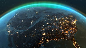 行星地球有夜间和日出的美国区域