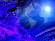 行星地球模型从腐朽的微粒的在冰冻蓝色条纹背景和黑暗的背景喜欢 免版税库存图片