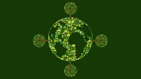 行星地球的动画与树的,滚动 库存例证