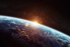 行星地球的看法在空间的 免版税图库摄影