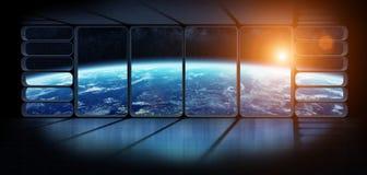 行星地球的看法从一巨大的太空飞船窗口3D renderi的 免版税图库摄影