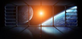 行星地球的看法从一巨大的太空飞船窗口3D renderi的 库存照片