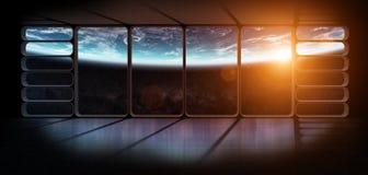 行星地球的看法从一巨大的太空飞船窗口3D renderi的 免版税库存图片